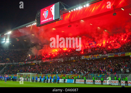 Fireworks, Stade de Suisse, stadium, Cup-final, canton, Bern, arrangement, football, soccer, spectator, smoke, fans, - Stock Photo