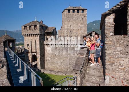 Tourists, Monte Bello, visit, building, construction, Castle, tourism, holidays, canton, TI, Ticino, South Switzerland, - Stock Photo