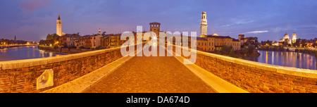 Ponte Pietra, cathedral, dome, Verona, Adige, panorama, town, city, Italy, Europe, bridge, river, flow, brook, body - Stock Photo