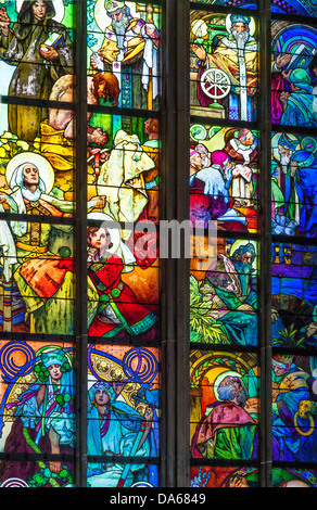 Part of stained glass window by Alphonse Mucha, St Vitus Cathedral, Prague. Centre left panes show King Wenceslas - Stock Photo