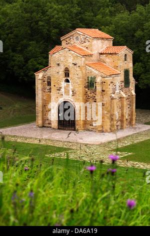 Pre Romanesque church San Miguel de Lillo Oviedo Principado de Asturias Spain - Stock Photo