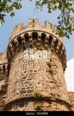 A mediaeval tower within the city walls in Rhodes old town, Rhodes, Greece - Stock Photo