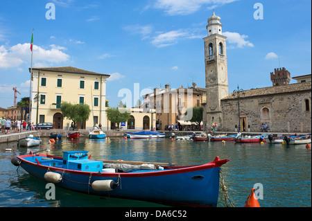 Lake Garda, Italy, Europe, Lago di Garda, Lazise, fishing harbour, fishing harbours, harbour, port, harbours, ports, - Stock Photo