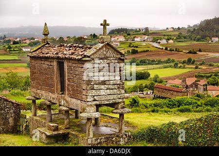 Camino Xacobeo de Santiago Horreo San Martin de Ozon La Coruña Galicia Spain - Stock Photo