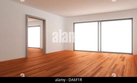 Empty living room, 3D illustration - Stock Photo