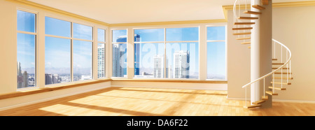 Room with a spiral staircase, view over a skyline, 3D illustration - Stock Photo