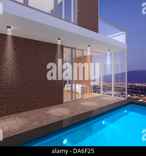 Penthouse with a pool, 3D illustration - Stock Photo