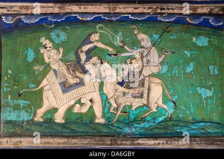 Woman on an elephant offering sacrifices to the god Shiva on Nandi, optical illusion, wall painting or fresco painted - Stock Photo