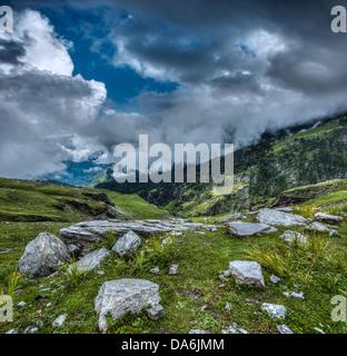 Mountain landscape in Himalayas. Kullu valley, Himachal Pradesh, India - Stock Photo