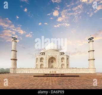 Taj Mahal. Indian Symbol - India travel background. Agra, India - Stock Photo