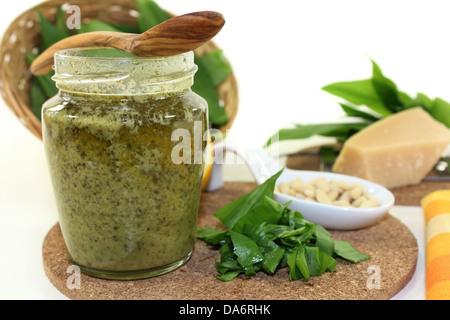 Wild garlic pesto with fresh wild garlic and pine nuts - Stock Photo