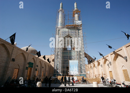 Jameh mosque or Friday mosque in Yazd under renovation, Iran - Stock Photo