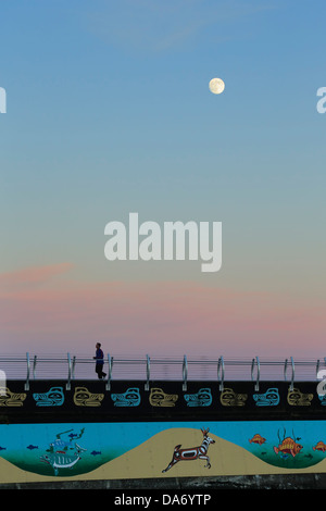 Nearly Full moon rising behind Odgen Point breakwater with evening male jogger-Victoria, British Columbia, Canada. - Stock Photo