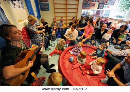 day nursery exclusively dedicated to dads in paternal leave house family in neighborhood mollevang in malmo sweden - Stock Photo