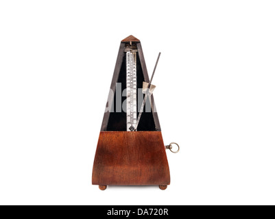 Vintage wooden metronome music timer on the white background - Stock Photo