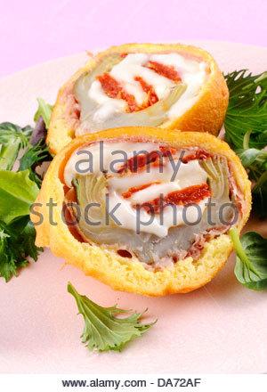 deep fried arthicockes in batter - Stock Photo