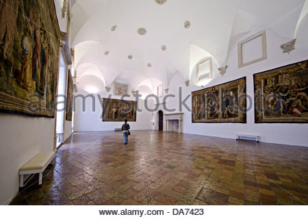 hall of tapestries of the Ducal Palace,Urbino - Stock Photo