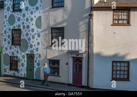 Spotted terraced house, Bishop's Castle. Shropshire - Stock Photo