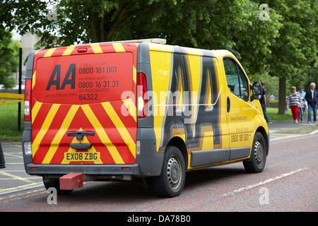 yellow aa recovery vehicle on callout county down northern ireland uk - Stock Photo