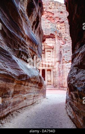 View of Al Khazneh from al-Siq in Petra, Jordan - Stock Photo