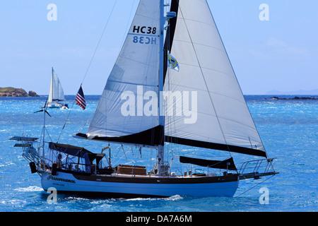 Sailing in Cruz Bay,St. John,United States Virgin Islands,Caribbean - Stock Photo