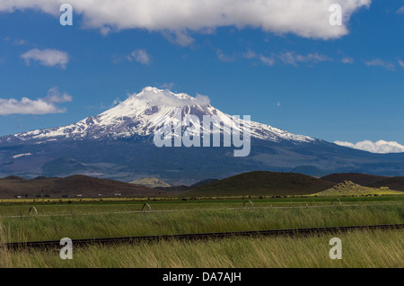 Grenada California United States.  View of Mt Shasta showing irrigation equipment and pasture fields - Stock Photo