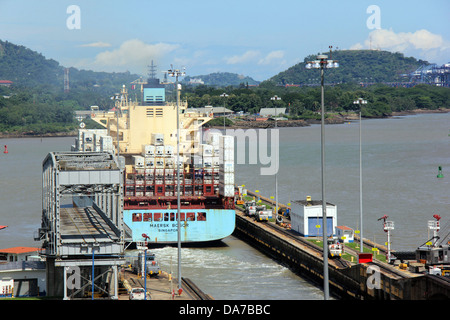 Panama Canal exit to the Pacific Ocean seen from Miraflores Locks. - Stock Photo