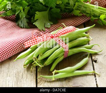 fresh green bean pods (peas, beans) - Stock Photo