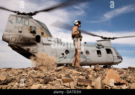 A US Marine CH-46 Sea Knight helicopter during a training exercise June 22, 2013 at Marine Corps Air Ground Combat - Stock Photo
