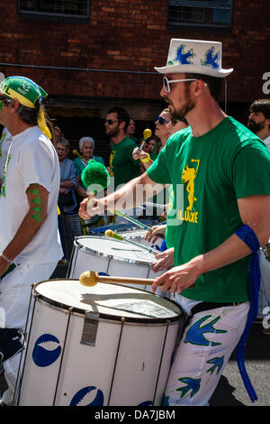 Bristol, UK. 6th July, 2013. Drummers at St Paul's Carnival in Bristol 2013 © Rob Hawkins/Alamy Live News Credit: - Stock Photo