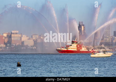 Fire Fighter fireboat parading on Hudson River - 4th of July, 2013 - Stock Photo