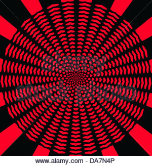 Digital composite hearts wallpaper red on black. Circular explosion. - Stock Photo