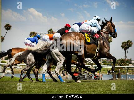 Inglewood, California, USA. 7th July, 2013. Schiaparelli with Joe Talamo up wins the Royal Heroine Mile at Betfair - Stock Photo