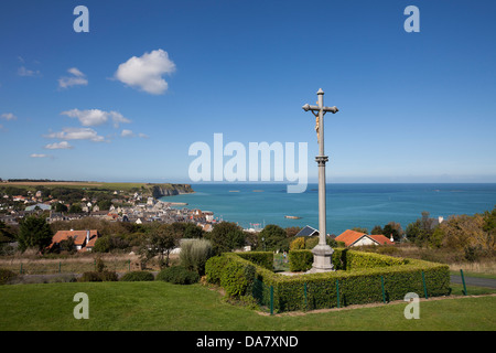 Overview of the town of Arromanches-les-Bains in Normandy on a clear day. - Stock Photo