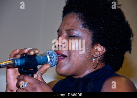 American Kathleen Pearson singing the Blues during the 2013 Dundee Blues Bonanza,UK - Stock Photo