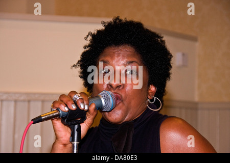 American Blues singer Kathleen Pearson performing live at the Mercantile Pub during the 2013 Blues Bonanza in Dundee, - Stock Photo