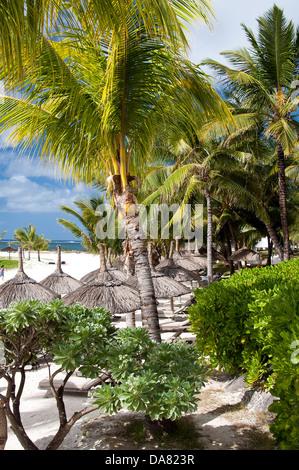 Mauritius Idyllic Beach Scene With Umbrella Chairs And