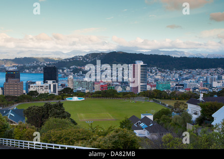View of Mt Victoria over Wellington CBD, New Zealand - Stock Photo