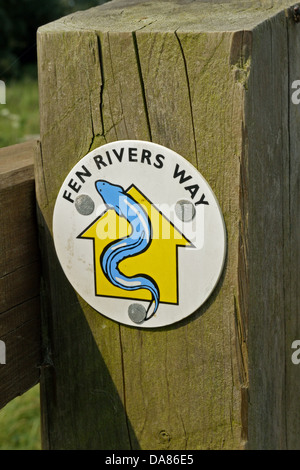 Fen Rivers Way footpath sign on the bank of the River Great Ouse at Little Thetford, Cambridgeshire, UK - Stock Photo