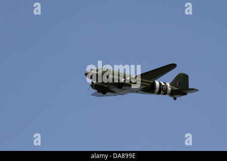 Ingleton, UK. 7th July, 2013. Battle of Britain Dakota,  plane, ww2, airplane, historic, world war two, flight, - Stock Photo