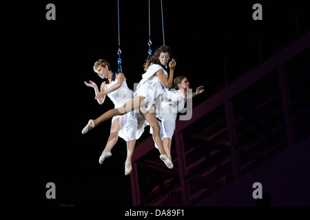 Dancers performing in the air - Stock Photo