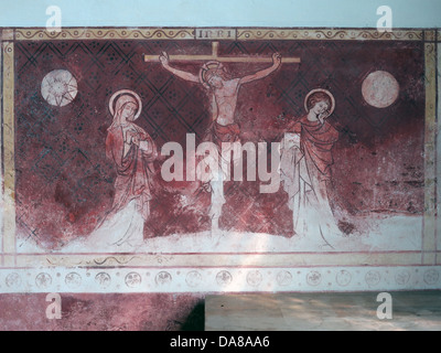 Beautiful Dorchester On Thames Abbey Church of St Peter & St Paul red wall painting - Stock Photo