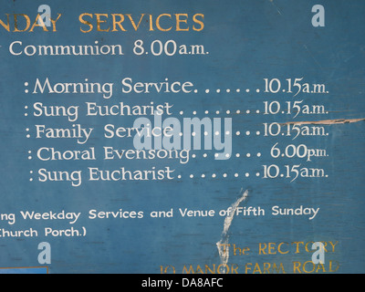 Beautiful Dorchester On Thames Abbey Church of St Peter & St Paul services board detail - Stock Photo