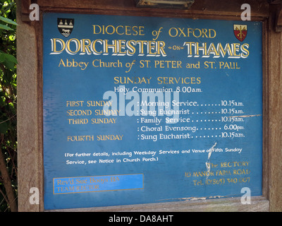 Beautiful Dorchester On Thames Abbey Church of St Peter & St Paul front sign - Stock Photo