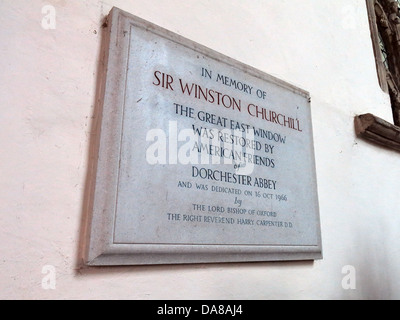 Beautiful Dorchester On Thames Abbey Church of St Peter & St Paul Winston Churchill plaque - Stock Photo