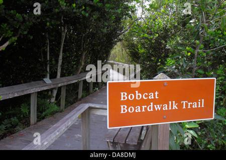 Miami Florida Tamiami Trail Everglades National Park Shark Valley sign Bobcat Boardwalk Trail nature boardwalk - Stock Photo
