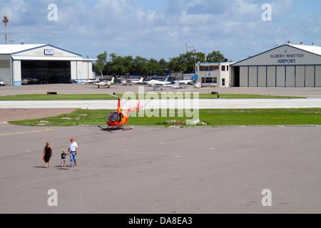 St. Saint Petersburg Florida Albert Whitted Airport SPG tarmac runway sightseeing helicopter - Stock Photo