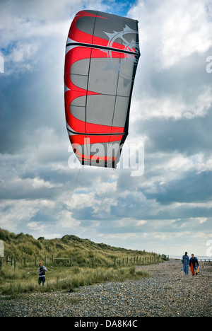 Kite-surfing kite at Climping Beach near Littlehampton, West Sussex, UK - Stock Photo
