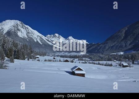 Austria, Europe, Tyrol, Gurgltal, Nassereith, winter, Stadel, snow, wood, forest, winter, vacation, winter vacation, - Stock Photo