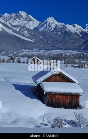 Austria, Europe, Tyrol, Gurgltal, Nassereith, Stadel, winter, snow, winter, vacation, winter vacation, traveling, - Stock Photo